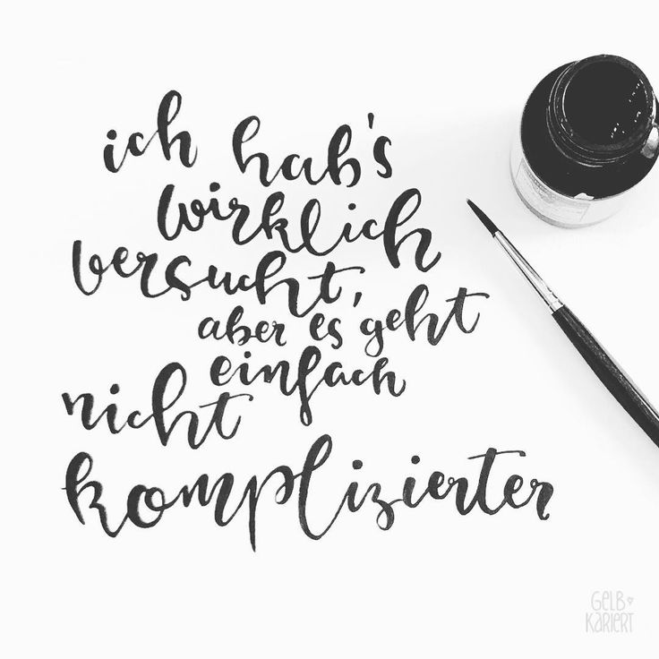 Lettering with ink and brush – Handlettering of yellow checkered   – Sprüche