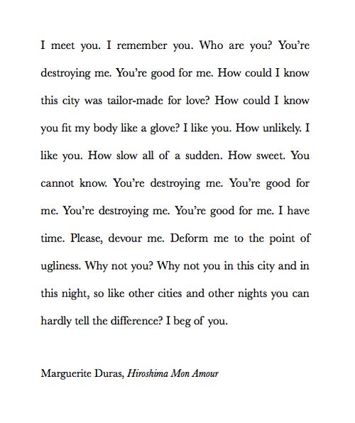 Marguerite Duras from Hiroshima mon amour