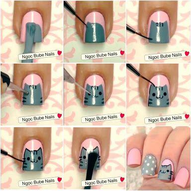 Resultado de imagem para pusheen nail art (Geek Stuff Hair)