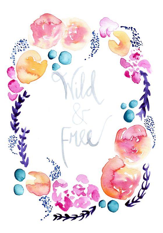 Wild & Free Watercolour Flower Wreath - Giclee Art Print  http://www.thepaperhare.com