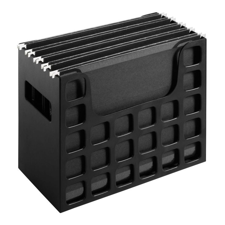 """Desktop File Organizer Black Hanging Folders Desk Box Office Document Storage. Includes 5 Pendaflex letter-sized hanging folders and clear repositionable tabs and inserts for use in 5 tab positions. 9 1/2"""" H x 12 1/4"""" W x 6"""" D. Note:For return policy in non product problem,customer has to response for shipping fee and 15% restore fee,And please return within 14 days."""