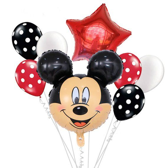 Mickey Mouse Birthday Party supplies and Red Polka Dot 18 pc Balloon Decorations Be Happy