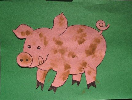 Muddy pig craft--great for any age. Q-tips and watery brown paint.