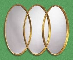 triple overlapping  framed mirror   ... Mirror Overlapping Trio Antique Wall Mirror   Buy Mirror Online