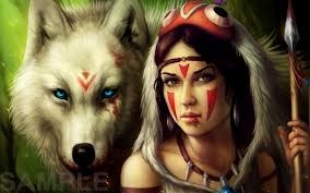 Native American & Wolf