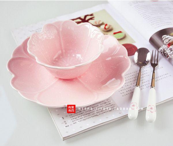 雪花釉碗盘套装米饭碗 粉色家用餐具菜盘蛋糕零食盘子日式餐盘
