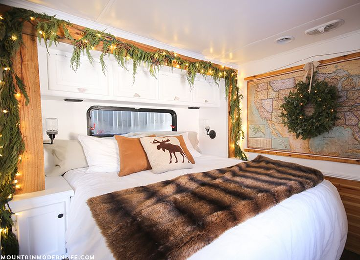 RV Christmas Home Tour - Come see how we decorated our tiny home on wheels for the holidays! MountainModernLife.com