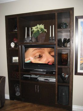 Small modern wall unit with open shelves. www.signaturecustomcabinets.com www.facebook.com/SignatureCustomCabinets