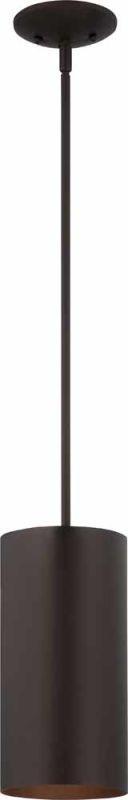 "Volume Lighting V9606 1 Light Outdoor 12"" Height Pendant with Metal Cylinder Sha Antique Bronze Outdoor Lighting Pendants"