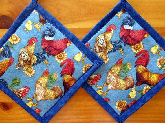 Set of 2 Chickens and Roosters Potholders by WildernessTies