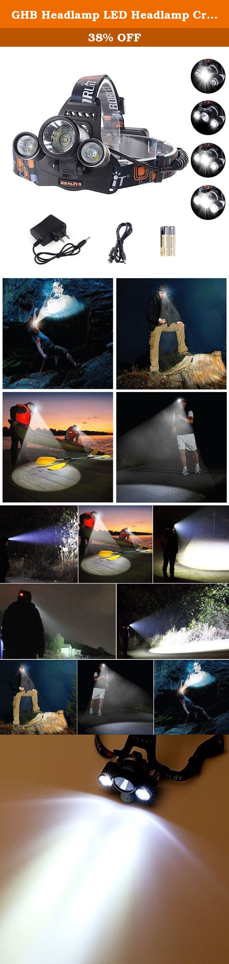 GHB Headlamp LED Headlamp Cree XM L T6 6000LM Flashlight 3x LED 4 Modes Headlamp for Camping Hiking Hunting. Product Description: - Material: aluminum alloy; Elastic head strap - LED type: 3x Cree XM-L T6 - Output bright: up to 6000 Lm - 4 Modes: 1LED/ 2LED/3LED/ Flashing (from weak light to bright light) - Waterproof design, but do not put it directly in the water - Weight: 360g/12.8 oz - Range: 300 - 500M - Input: AC 90 - 264V - Adjustable and flexible headband. The length of the…