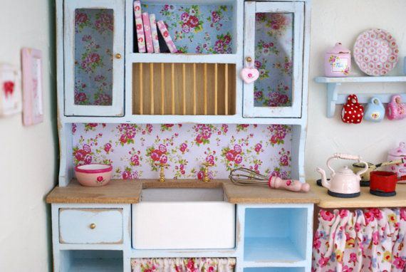 A Shabby Chic 1:12 Scale Kitchen Sink / Dresser by LovejoyBears