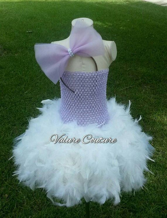 Lavender Daisy Duck Inspired Tutu Feather Dress by ValureCouture Newborn Infant Toddler Youth Purple White Bow Disney Minnie Mickey Donald Duck Princess Costume Pageant Birthday Dance Christmas Gift Newborn Baby Infant Toddler Youth