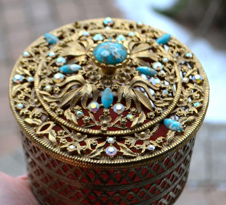 GOLD VANITY JAR Vintage Gold Filigree Metal Vanity Jar Jewel Encrusted Lid Turquoise Stone Aurora Borealis Crystals Toilet Paper Holder by StudioVintage on Etsy