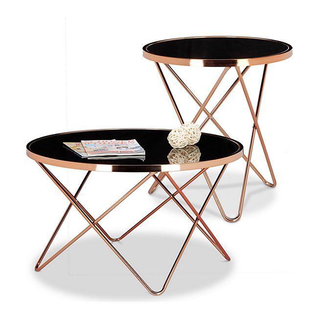 Relaxdays 2 Tlg Beistelltisch Set Copper Couchtisch Glastisch Sofatisch Wohnzimmertisch Online Kaufen Gartenxx Beistelltische Set Wohnzimmertisch Sofa Tisch