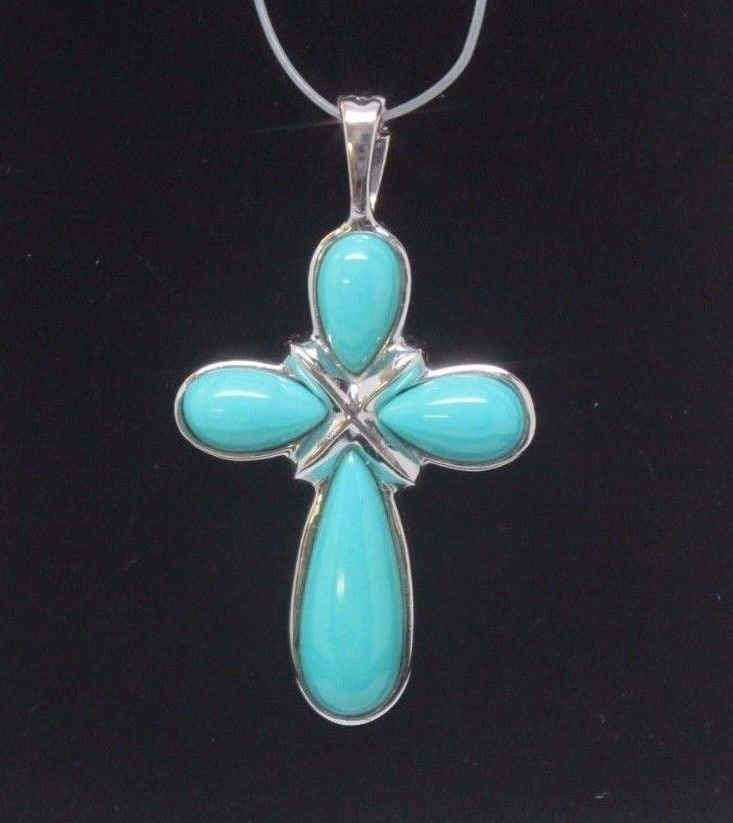 The 66 best images about easter gift ideas on pinterest beauty details about 14k white gold cross pendant enhancer turquoise colored stones gold crosseaster giftcross negle Gallery