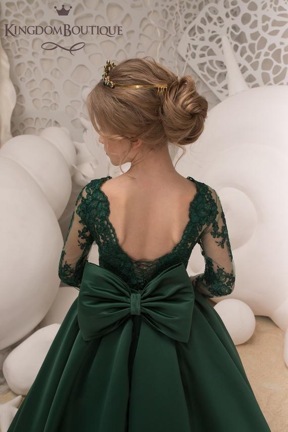99227e4cf Verde esmeralda de la muchacha de flor de la boda vestido de
