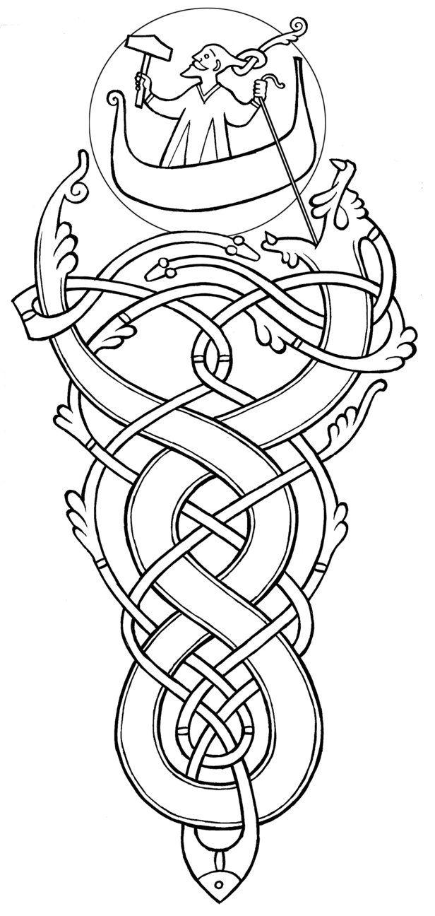 An illustration of Thor battling the Midgard Serpent. https://en.wikipedia.org/wiki/J%C3%B6rmungandr#Thor.27s_fishing_trip