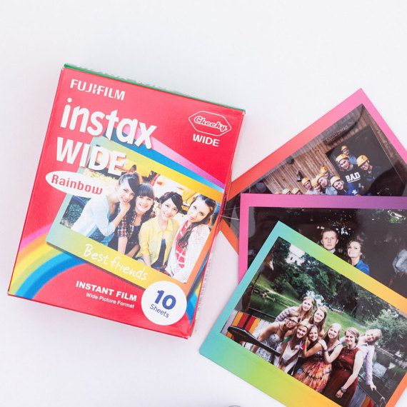 Fujifilm Instax Wide Film. Instant Film 10 Sheets Rainbow Border for Fujifilm Instax 100, 210, 300, Lomo Instant Wide. Picture size: 8.6 cm x 10.8 cm. Expiration Date: 2018/05 Fujifilm no longer produces this film. Rare item. Please note the processing time.
