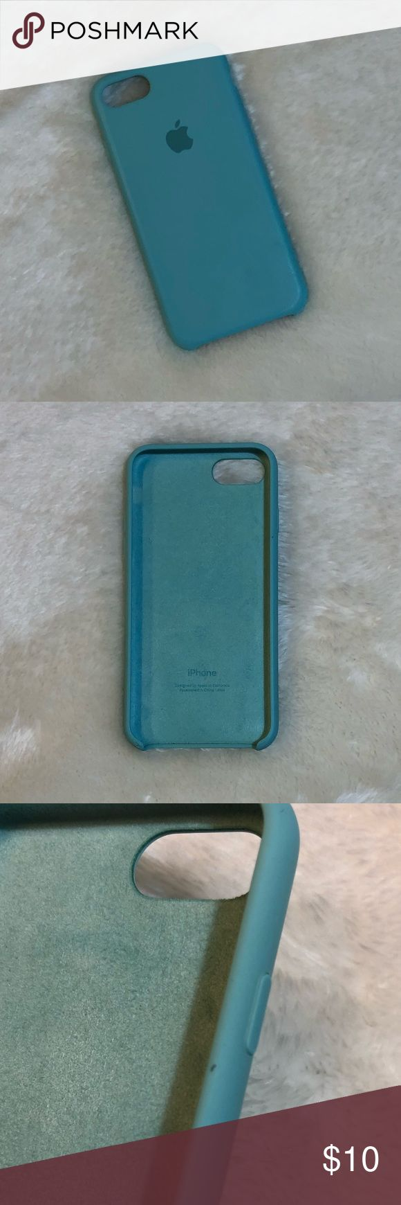 Apple iphone 7 silicone case Used in good condition. Sea blue color bought from Apple store. With very minimal signs of wear on the side and bottom which is not noticeable unless you have to look really close. Please see  3rd and last photo for reference. Price drop reflects that. Apple Accessories Phone Cases