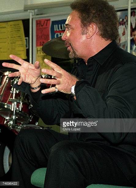 Tom Jones talking to students at the Brits School