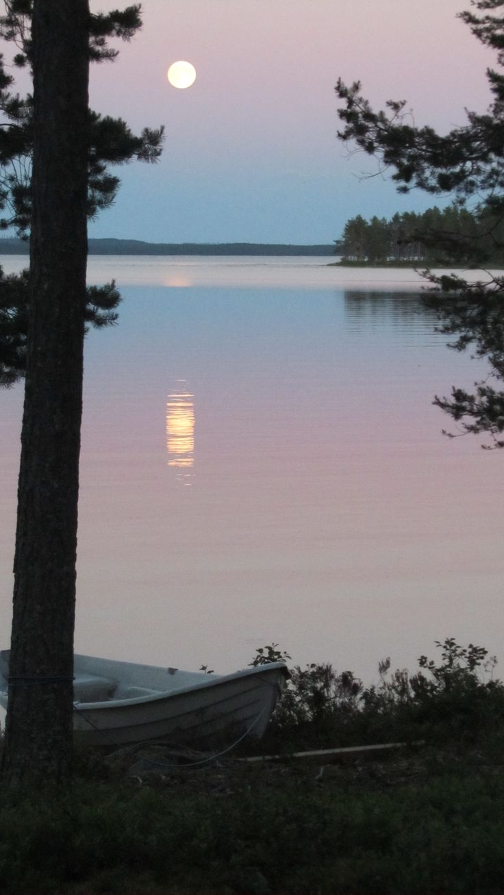 The full moon view from my cottage in Kuhmo, Finland.