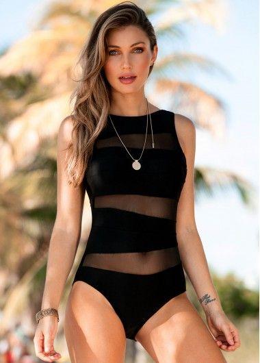 9689c64fc2 ... fashion bra   bikini sets with competitive price. Scoop Back Mesh Panel Black  One Piece Swimwear