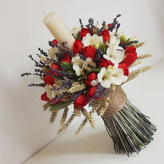 yau flori_lumanare pentru botez cu frezii si lalele