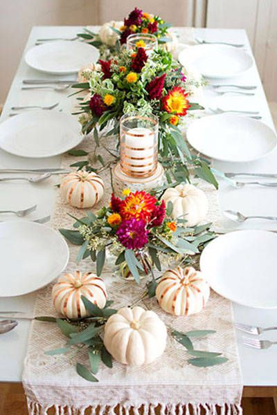Fall Tablescape Inspiration From Pinterest - Holiday Table Decor Ideas - Harper's BAZAAR