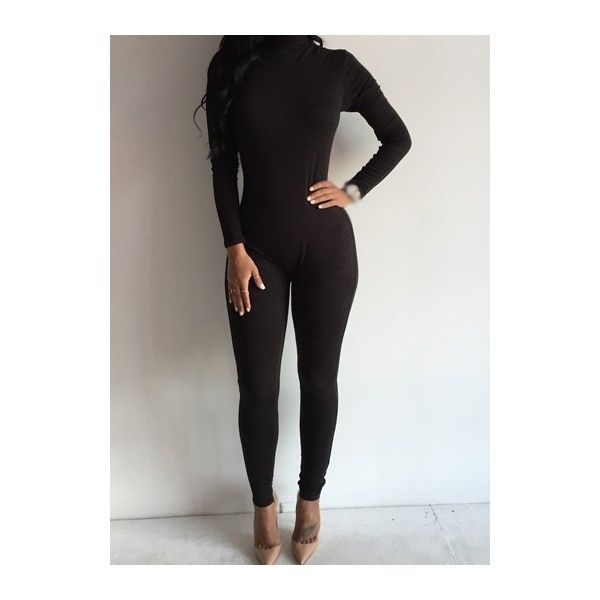 Long Sleeve Black High Neck Skinny Jumpsuit ($22) ❤ liked on Polyvore featuring jumpsuits, black, print jumpsuit, black jumpsuit, black skinny leg jumpsuit, high neck jumpsuit and jump suit