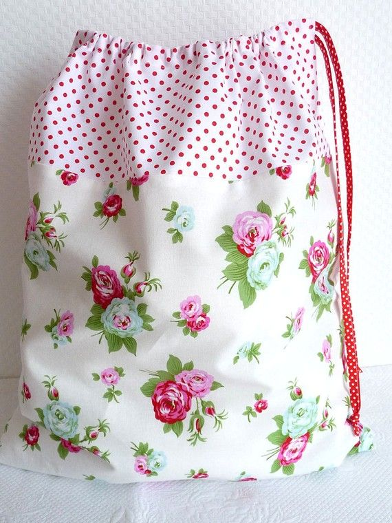 "Laundry /Lingerie Bag.  18"" x 15.5"" Love the vintage looking fabric and polka dot ribbon.  Great gift idea!"