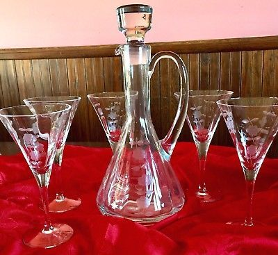 Image result for Vintage Toscany Crystal Etched Flower Wine Decanter Set w/ 4 Wine Glasses