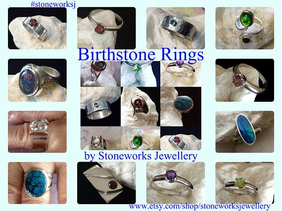 Birthstone Rings, Family Rings, All Birthstones, Sterling Silver, or Copper, Wear One or Stack Them for Kids or Grandkids, Family Jewelry