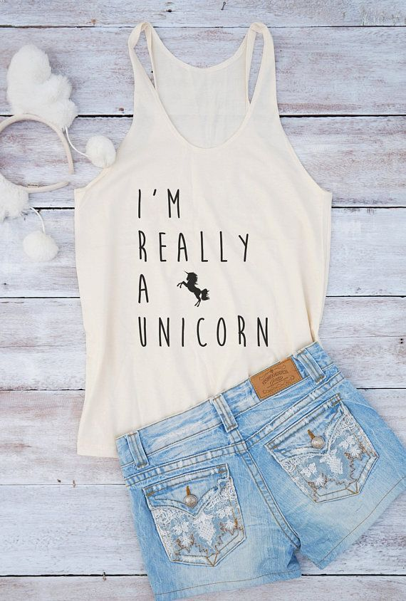 I'm really a unicorn women top teen girl saying slogan gym dope sparkle graphic tops closet perfect gift for girlfriend Tumblr Etsy plain basic