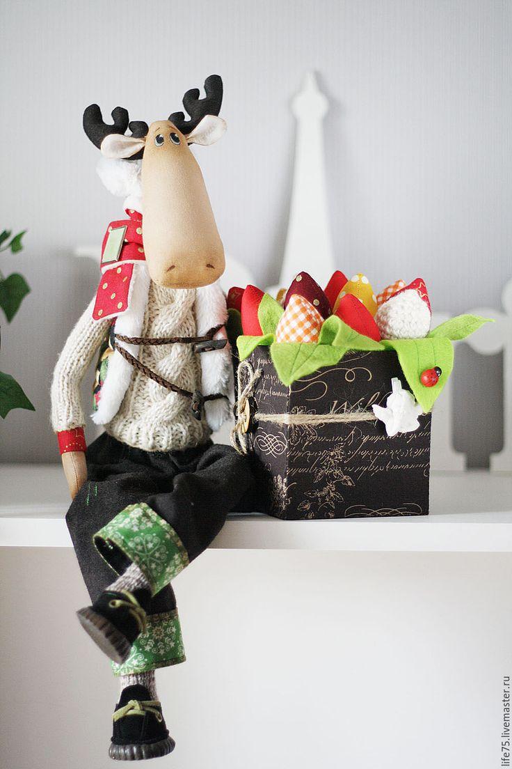 Купить Мистер лось - комбинированный, лось, тильда, тильда лось, тюльпаны, тюльпаны из ткани