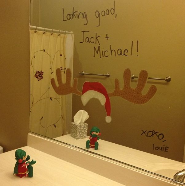 Hilarious Elf on the Shelf Ideas - Use window decals!