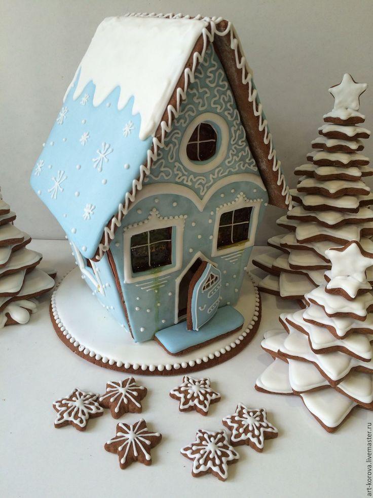 Купить Ледяной пряничный домик на Новый год, Рождество - пряничный домик, подарок на новый год, расписной пряник