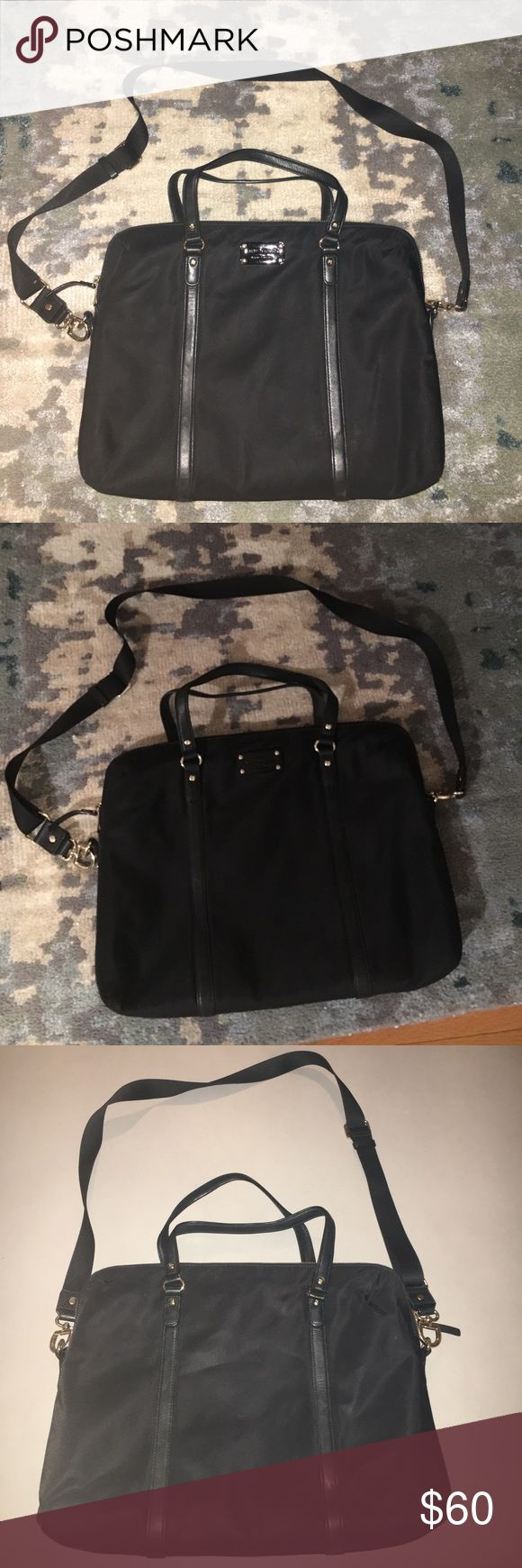 "Kate Spade brief and laptop case Black Kate Spade briefcase with compartment for computer. Includes and adjustable and detachable strap. Has compartment for for pens, pencils, and wallet. 16"" long x 12"" tall x 2"" deep. Has been used but in decent condition. You can tell there is some wear and tear. kate spade Bags Laptop Bags"