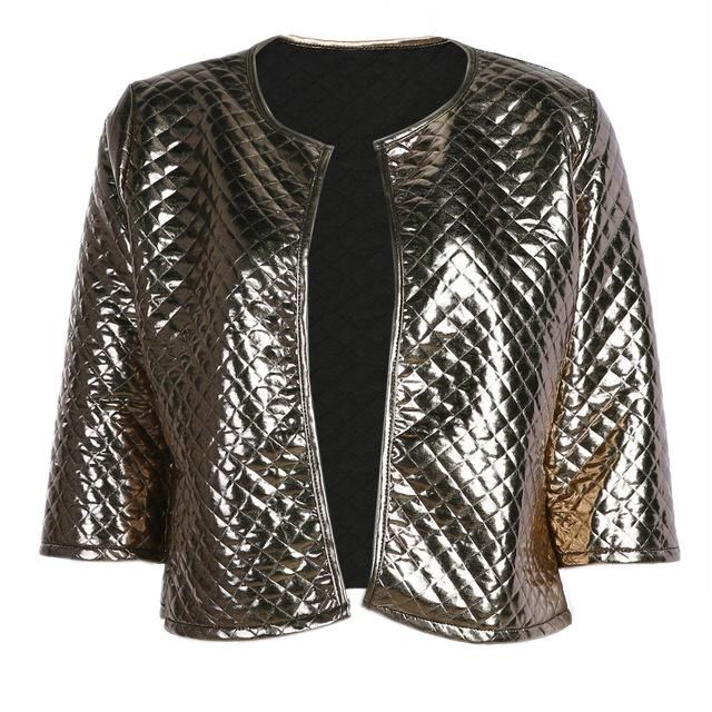 Women Vogue Lozenge Gold Sequins Jackets