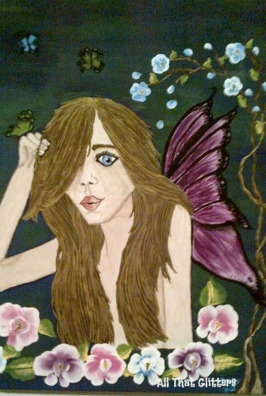This lovely garden fairy painting is titled (Butterfly Garden) https://www.facebook.com/allthatglitters1234