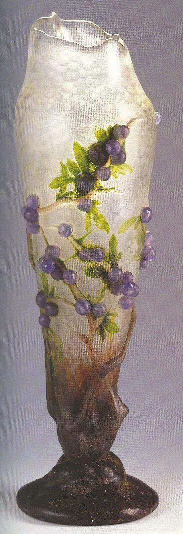 "Daum - ""Prunelles"" Vase. Cameo Glass with Applied"