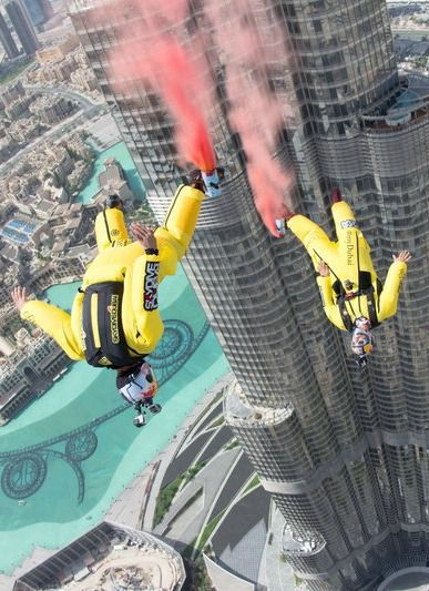 Fred Fugen and Vincent Reffet jump into the record books with the highest BASE jump off the world's tallest building.