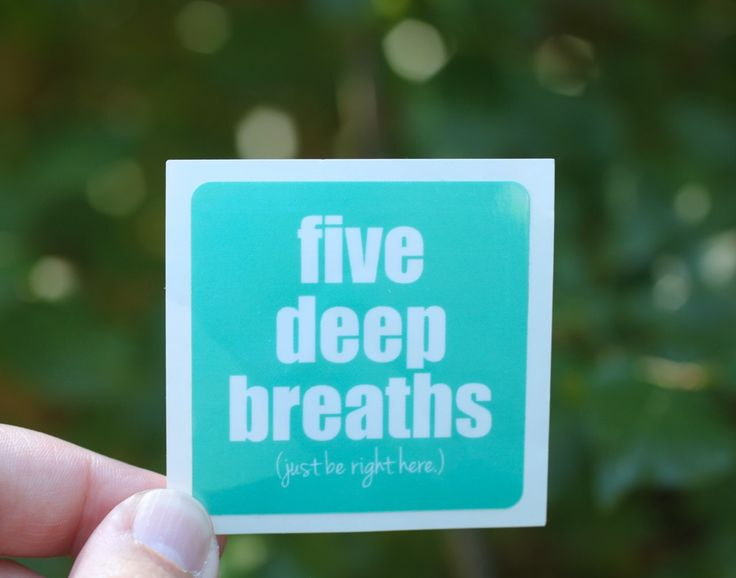 """These stickers are reminders of my """"Five Deep Breaths"""" practice that I teach as part of my Yes, This course. I really believe that pausing a few times a day to take five deep breaths with intention, especially when you are stressed, sad, or overwhelmed, can change your life. Put this sticker wherever you need this reminder to just be right here - on a notebook, on a mirror, on your coffee mug or even on your steering wheel."""