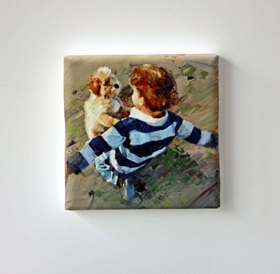 Tiny Canvas  Best Friends  Dog Art  Canvas by ClaireMcCallArt