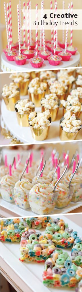 These 4 Creative Birthday Treats are fun and easy to make for your kiddo's big day and are some great options that come in individual servings. WIth mini popcorn cups, chewy cereal treats, sweet cake pops, and creamy frosting over cake, there's a dessert in here for everyone.