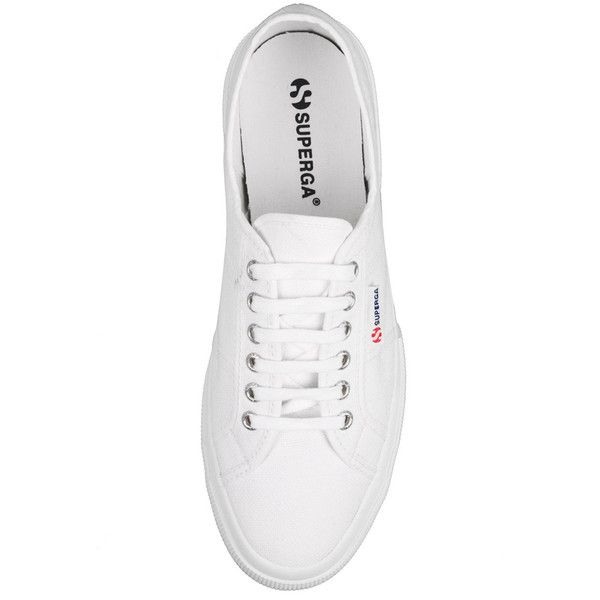 Superga White 2750 Cotu Classic Plimsolls (29 CAD) ❤ liked on Polyvore featuring men's fashion, men's shoes, men's sneakers, shoes, sneakers, mens canvas sneakers, mens white shoes, mens white canvas sneakers, mens white canvas shoes and mens white sneakers