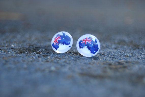 Australia Day jewellery national flag stud s by KookkiDesignStudio, $15.50