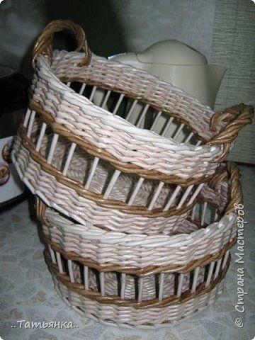 Поделка изделие Плетение Корзинки Трубочки бумажные фото 4