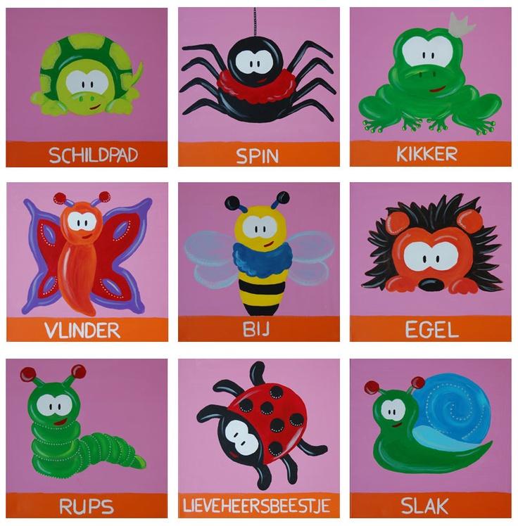 Beestenboel serie roze kinderschilderijtjes. Leuk voor op een baby- of kinderkamer. Schildpad - Lieveheersbeestje - Rups - Vlinder - Spin - Bij  - Egel - Kikker - Slak