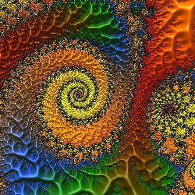 Fractal Spiral: 3D Fractals, Rainbows Spirals, Spirals Fractals, Fractals Art, Rainbows Fractals, Colors Fractals, Fractals Rendering, Bright Colors, Fractals Spirals